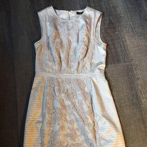 BCBG Maxazria blush satin embroidery dress